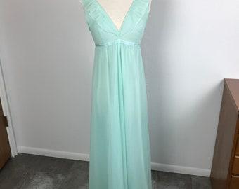 60s Nylon Long Nightgown Sheer Tiffany Blue Flutter by Evette