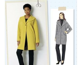 Sewing Pattern for Misses' Drop-Shoulder, Shawl Collar Coat w/ In-Seam Pockets, Butterick Pattern 6423, Women's Winter Coat, Lisette Pattern