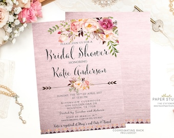 Watercolor Invitation, Boho Bridal Shower Invitation, Bridal Shower Invite, Boho Shower Invitation, Custom Bridal Invite, Quinceanera, BR080