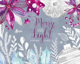 Merry And Light. Watercolor separate Elements, clipart, floral, christmas, silver, blue, purple, white, berry, holidays, card, diy, flowers