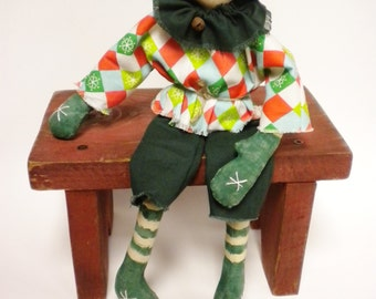 Primitive Elf Doll, Christmas Decor, Primitive Dolls
