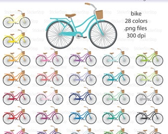 Bike or Bicycle Digital Clipart - Instant download PNG files