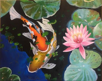 Acrylic Painting Koi Fish in Summer on Canvas