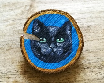 Black Cat Painted Wooden Wall Hanging