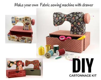 Fabric sewing machine DIY kit, cartonnage kit, diy fabric sewing machine with drawer (DIY kit 150), online instructions included