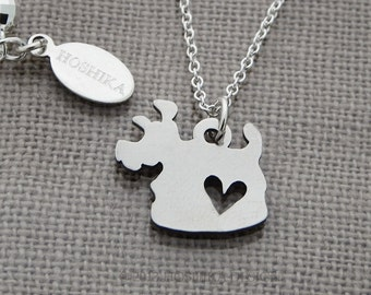 Mini Terrier with Heart Necklace