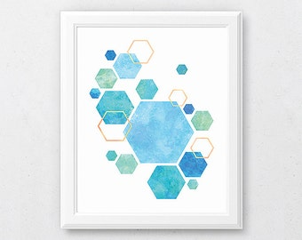 Gold Blue Art, Abstract Prints, Geometry Poster, Hexagon Artwork, Turquoise Wall Art, Teal Designs, Printable Geometric Art, Office Prints