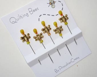 Quilting Bees Sewing Pins - Decorative Sewing Pins - Sewing Accessory - Bee Lovers - Honey Bee Stick Pins - Dress  up your Pincushion