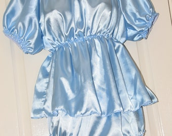 Silky short baby blue satin sissy dress with matching slithery sissy panties, Sissy Lingerie