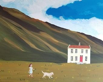 "Walking the Dog. Original acrylic on 12"" x 16"" x 3/4"" gallery wrap canvas"