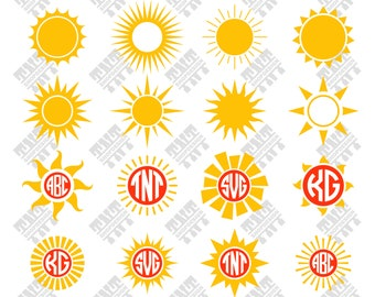 Sun svg - Sun vector - Sunsilhouette - Sun bundle - Sun monogram digital clipart for Print, Design or more, files download svg, png, dxf