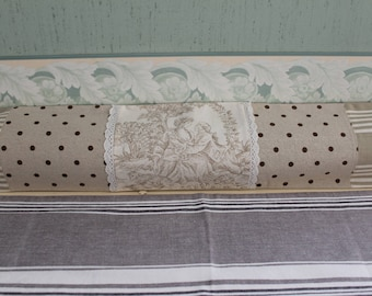 COVER WORN down in Toile de Jouy - ticking - linen - lace