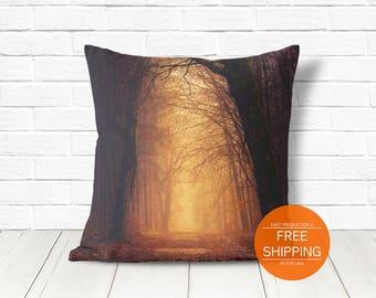 Fall cushion, orange decoration, Halloween, misty forest trees, creepy decor