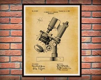 Patent 1899 Microscope - Art Print - Medical -  Doctors Office - Hospital - Wall Art - Medical Research Wall Art - Microbiology - Bausch