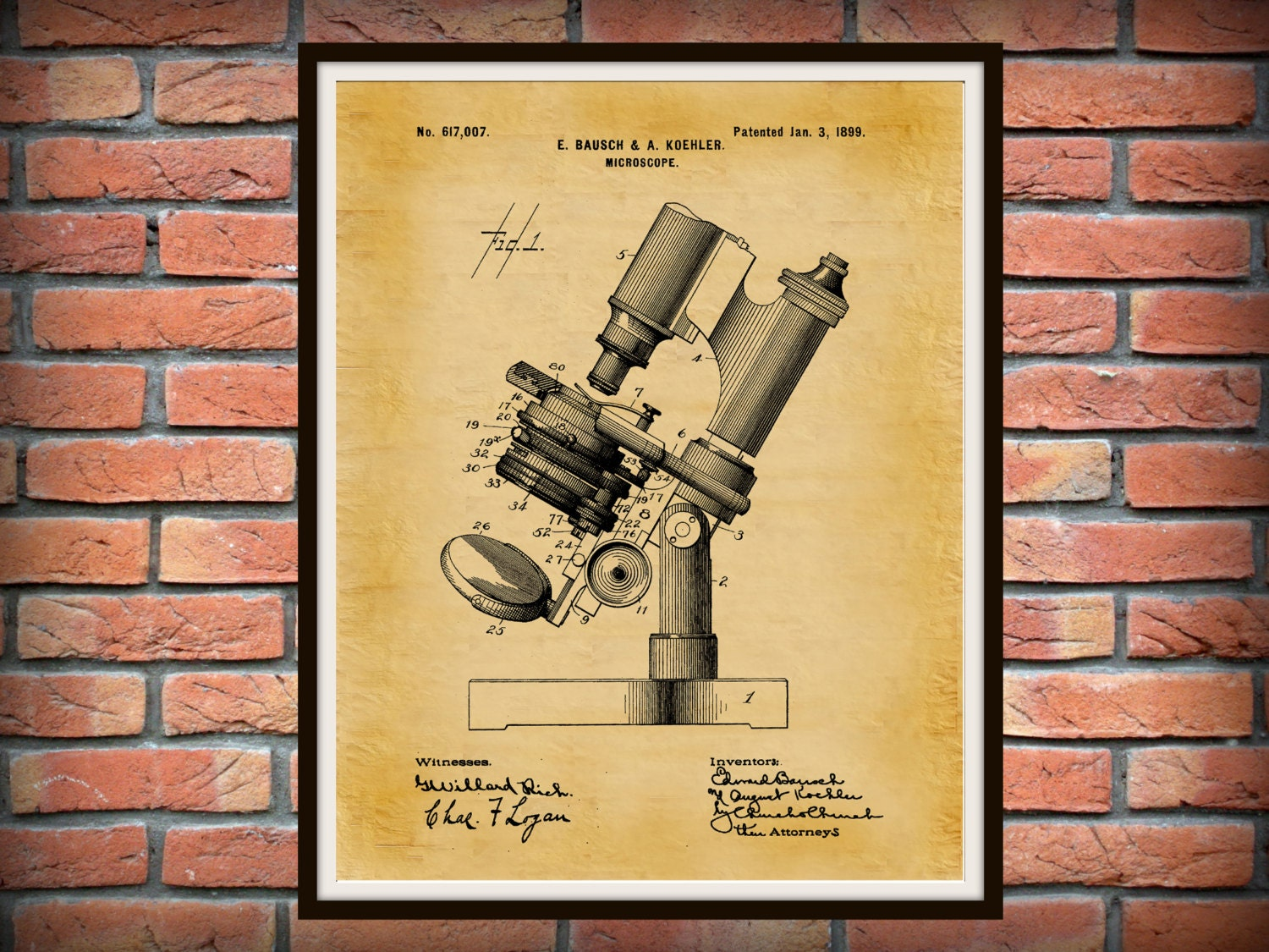 Patent 1899 Microscope - Art Print - Medical - Doctors Office ...