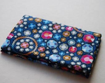 DIAMONDS AND DENIM fabric Coupon cotton patchwork diamonds blue and pink 50x55cm