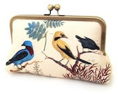 Clutch bag, printed silk purse, blue and yellow birds, VICTORIAN BIRDS