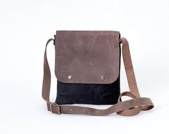 Schwarze Canvas Umhängetasche Messenger Tasche mit Leder  Damen Herren small