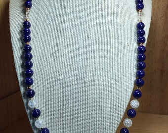 Natural Lapis and Quartz Necklace