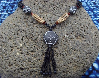 African necklace - clay pendant - nect06