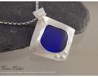 Cobalt Blue Sea Glass Necklace in Fine Silver