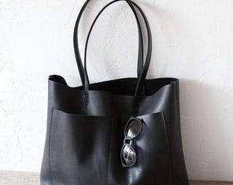 Large Black Leather Tote, Genuine Leather Bag,  Black Leather Bag, Front Pocket Bag, Handmade Cowhide Bag, Travel Bag, Diaper Bag, Oversized