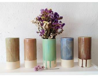 Ceramic vases with simple lines.  Flowers. Home decoration. Contemporary ceramics