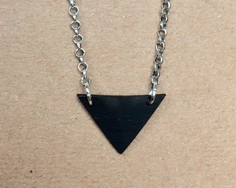 Vinyl Record Geometric Triangle Elegant Minimal Necklace Handmade Recycled
