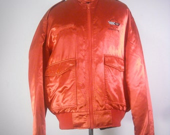 ON SALE Vintage Corvette Racer Jacket 1980s Menswear Red Military Style Retro Shiny Satin Spring Coat