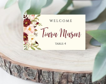 Marsala Watercolor Floral Crest Wedding Place Card Flat and Tented, Hadley Designs, Place Cards Wedding Reception, Place Card Calligraphy