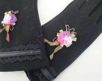 fingerless gloves black bouquet flowers organza Ribbon and beads
