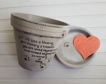 Dog Memorial Gift - Cat Memorial Gift - Pet Memorial Gift - Painted Flower Pot - Memorial Planter