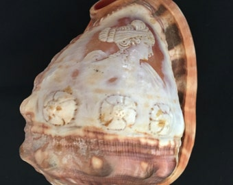Vintage Cameo Hand Carved Conch Shell