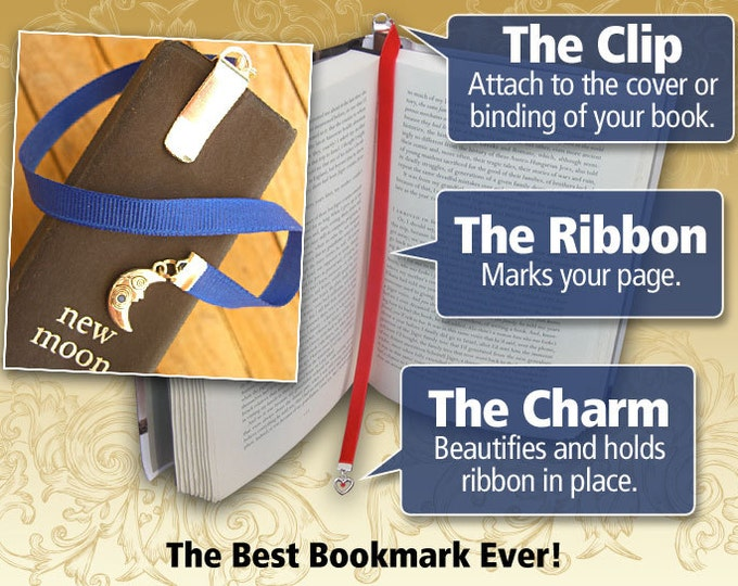 Featured listing image: Custom pewter bookmark with clip - Attach clip to book cover then mark the page with the ribbon. Never lose your bookmark!