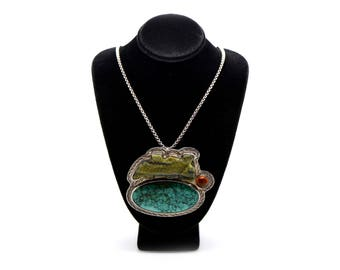 Sterling Silver The Dreamer Statement Necklace with Amber & Turquoise - 24 in.