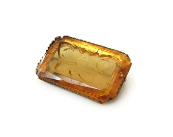 Amber Glass Intaglio Butterfly Brooch - Reverse Intaglio, Yellow Glass, Insect Pin, Vintage Brooch, Vintage Jewelry, Gifts for her