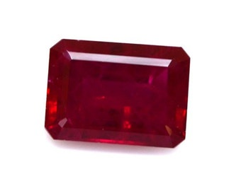 One Piece AAA Rated Find Handcut Emerald Cut Faceted Lab Created Chatham Ruby Visible Inclusion Flame Fusion Gemstone Sizes 6x4mm to 25x18mm