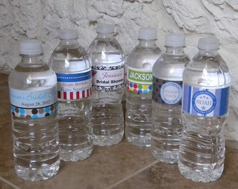 DIY Printable Custom Party Water Bottle Labels - hundreds of designs to choose from - Stickers available
