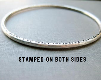 Personalized Bangle - Solid Sterling, Personalized on BOTH Sides, Stamped, Custom, Quote Bangle
