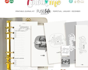 Personal Printable Creative Journal Kit : Medium FUSElife ColourMe > inc psd and tif layered templates (jes0571)