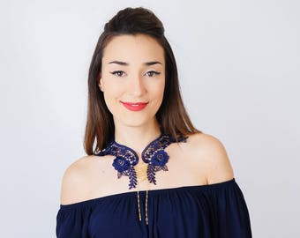 Vintage Style Gift Lace Collar Navy Blue Collar Vintage Collar Statement Necklace Gift For Her Birthday Gift Sister Gift/ VALERIA