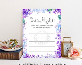 Date Night Ideas for the bride and groom, Wedding bridal shower game, purple lavender, blue lilac hydrangea, instant download, printable