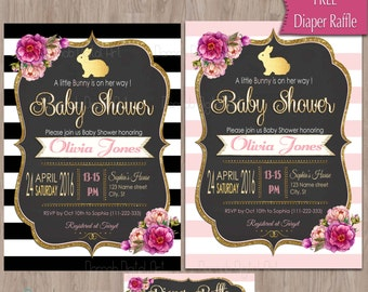 Bunny Baby Shower Invitation, Easter Baby Shower Invitation, Rabbit Baby Shower, Rabbit, Black, Gold, Baby Shower Bunny