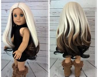 "Custom 10-11"" Doll Wig Fits Most 18"" Dolls BELLIZA Wig- Heat Safe"
