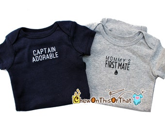 Captain Adorable Personalized Embroidered Navy Blue Statement Onesie Shirt - Add Baby's Name to Bodysuit, Top, Photo Prop, Nautical, Sailing