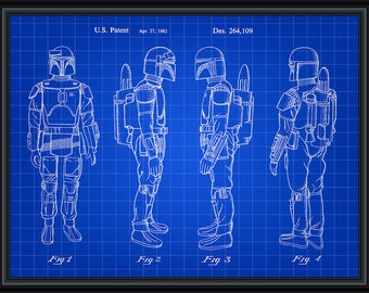 Star Wars Boba Fett Bounty Hunter Patent Blueprint Poster A4