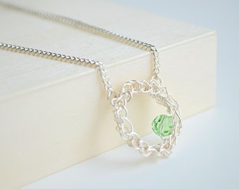 Swarovski Peridot Crystal Necklace, Green Crystal Pendant, Circle Pendant, Circle Necklace for Mom, Eternity Collection,
