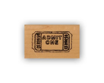 Movie Ticket lg. mounted rubber stamp, journal or planner stamp, date night, Crazy Mountain Stamps #8