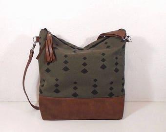 Canvas crossbody purse large medium, green hobo bag, Jute bag, sport bag, zipper vegan leather bag, crossbody travel bag, brown tote bag