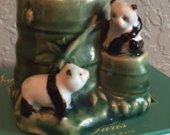 Vintage Planter Pandas Lucky Bamboo Pencil Eyeglasses Toothbrush Brush Holder Green Desk Accessories